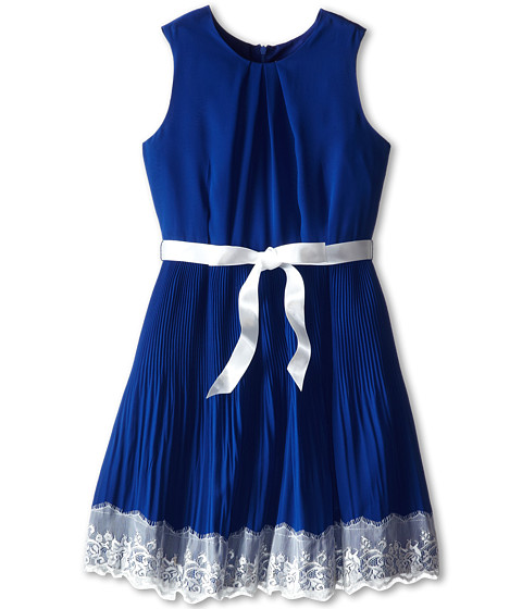 Us Angels - Sleeveless Pleated Skirt w/ Lace Trim (Big Kids) (Navy) Girl's Dress