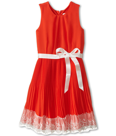 Us Angels - Sleeveless Pleated Skirt w/ Lace Trim (Big Kids) (Red) Girl's Dress