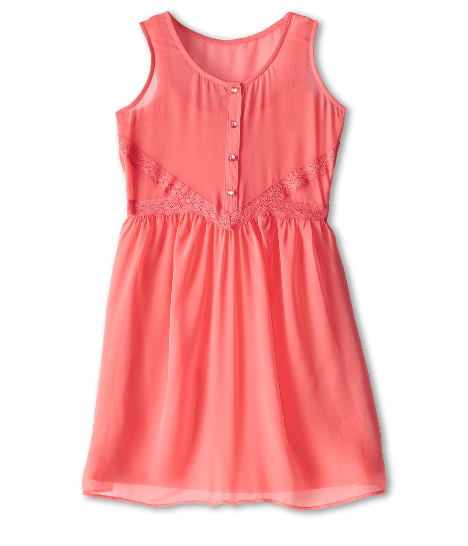 Us Angels - Tank Dress Lace Trim Baby Doll (Big Kids) (Coral) Girl