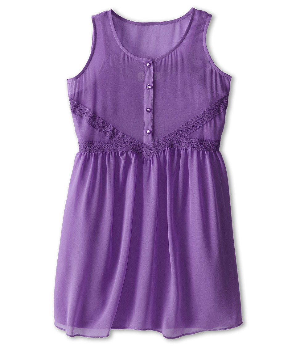 Us Angels - Tank Dress Lace Trim Baby Doll (Big Kids) (Lavender) Girl's Dress