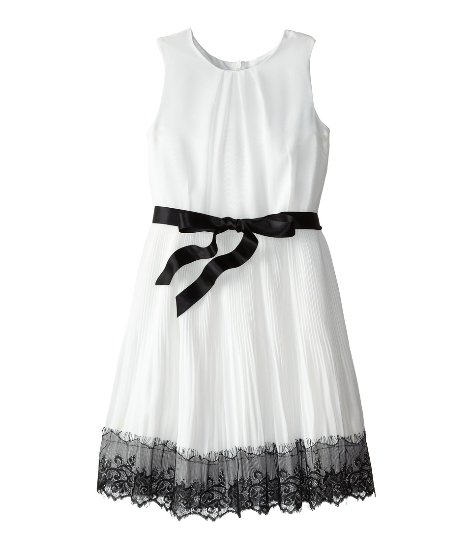 Us Angels - Sleeveless Pleated Skirt w/ Lace Trim (Big Kids) (Ivory) Girl