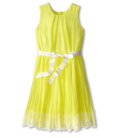Us Angels - Sleeveless Pleated Skirt w/ Lace Trim (Big Kids) (Yellow) Girl's Dress