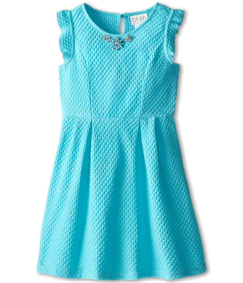 Us Angels - Princess Ruffle Tank w/ Full Skirt (Big Kids) (Aqua) Girl's Dress