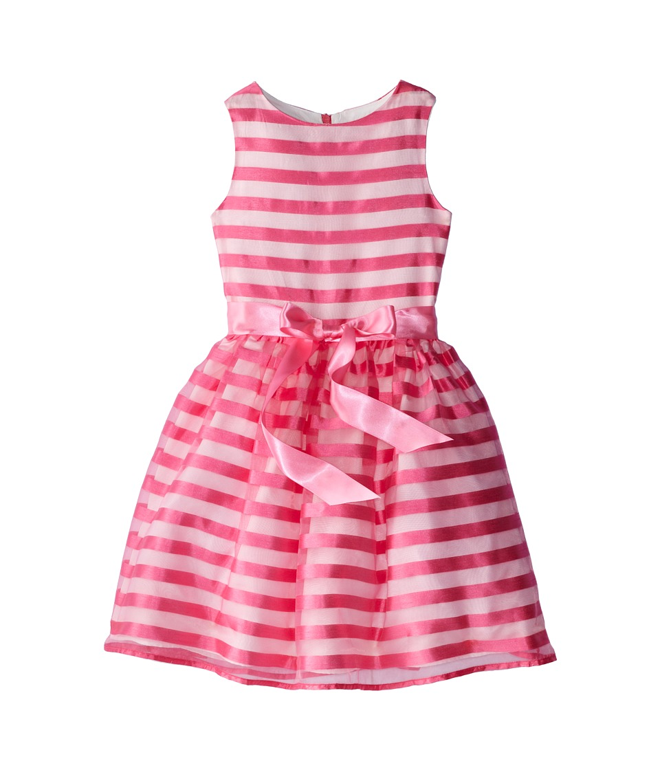Us Angels - Stripe Organza Tank w/ Full Skirt (Big Kids) (Parfait) Girl's Dress