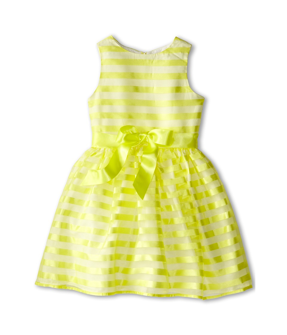Us Angels - Stripe Organza Tank w/ Full Skirt (Big Kids) (Yellow) Girl's Dress