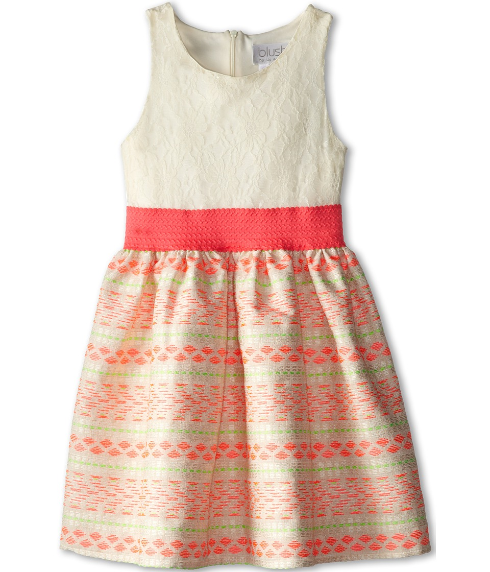 Us Angels - Sleeveless Lace Bodice w/ Jacquard Full Skirt (Big Kids) (Neon Orange) Girl's Dress