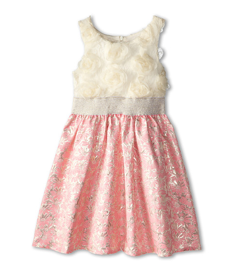 Us Angels - Sleevless Lace Bodice w/ Jacquard Skirt (Big Kids) (Neon Pink) Girl's Dress