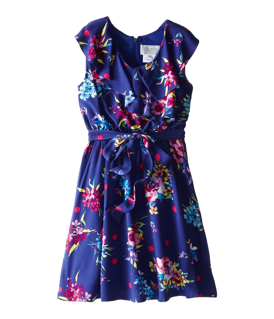 Us Angels - Ruffle Front Ryn Challis w/ Full Skirt Dress (Big Kids) (Navy) Girl