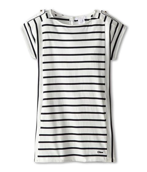 Chloe Kids - Navy Stripe Jersey Dress with Shoulder Button Details (Little Kids/Big Kids) (Blue Offici) Girl's Dress