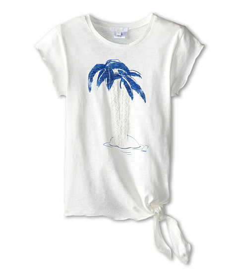 Chloe Kids - Palm Tree Print Tee with Side Tie (Little Kids/Big Kids) (Blue Diamant) Girl's T Shirt