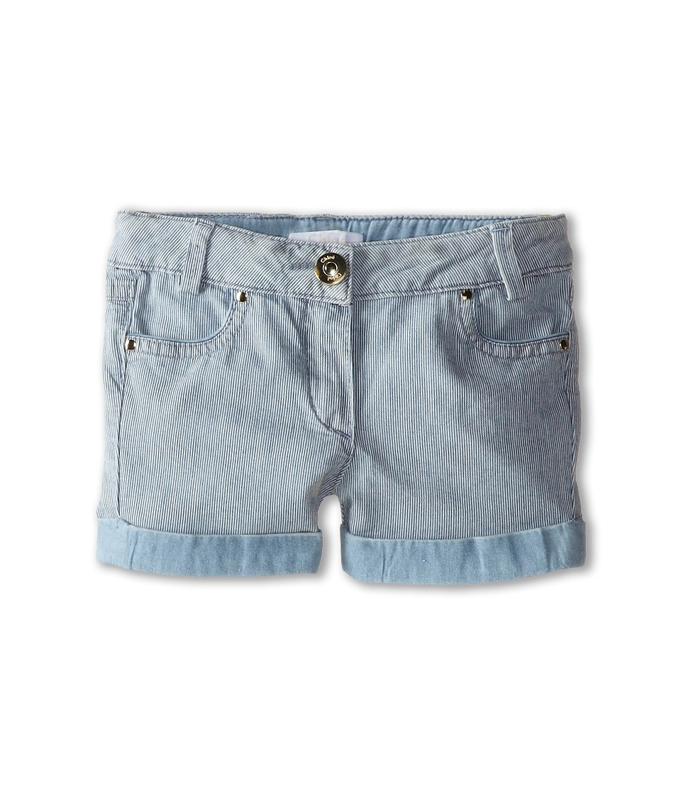 Chloe Kids - Ticking Stripe Denim Shorts (Toddler/Little Kids) (Blue Lave) Girl's Shorts