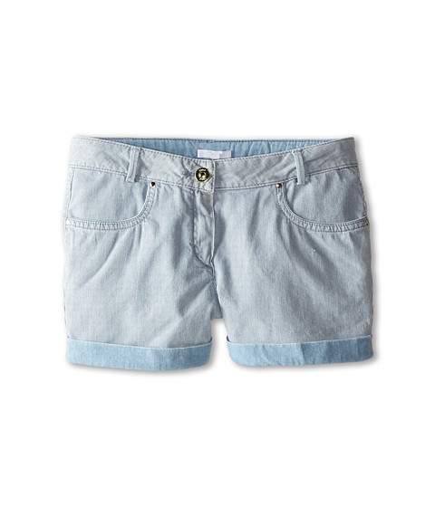 Chloe Kids - Ticking Stripe Denim Shorts (Big Kids) (Blue Lave) Girl