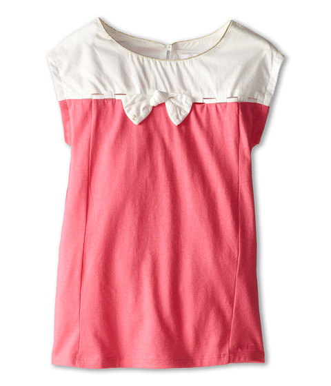 Chloe Kids - Two-Tone Jersey Dress with Lurex Bows (Toddler/Little Kids) (Fuchsia) Girl's Dress