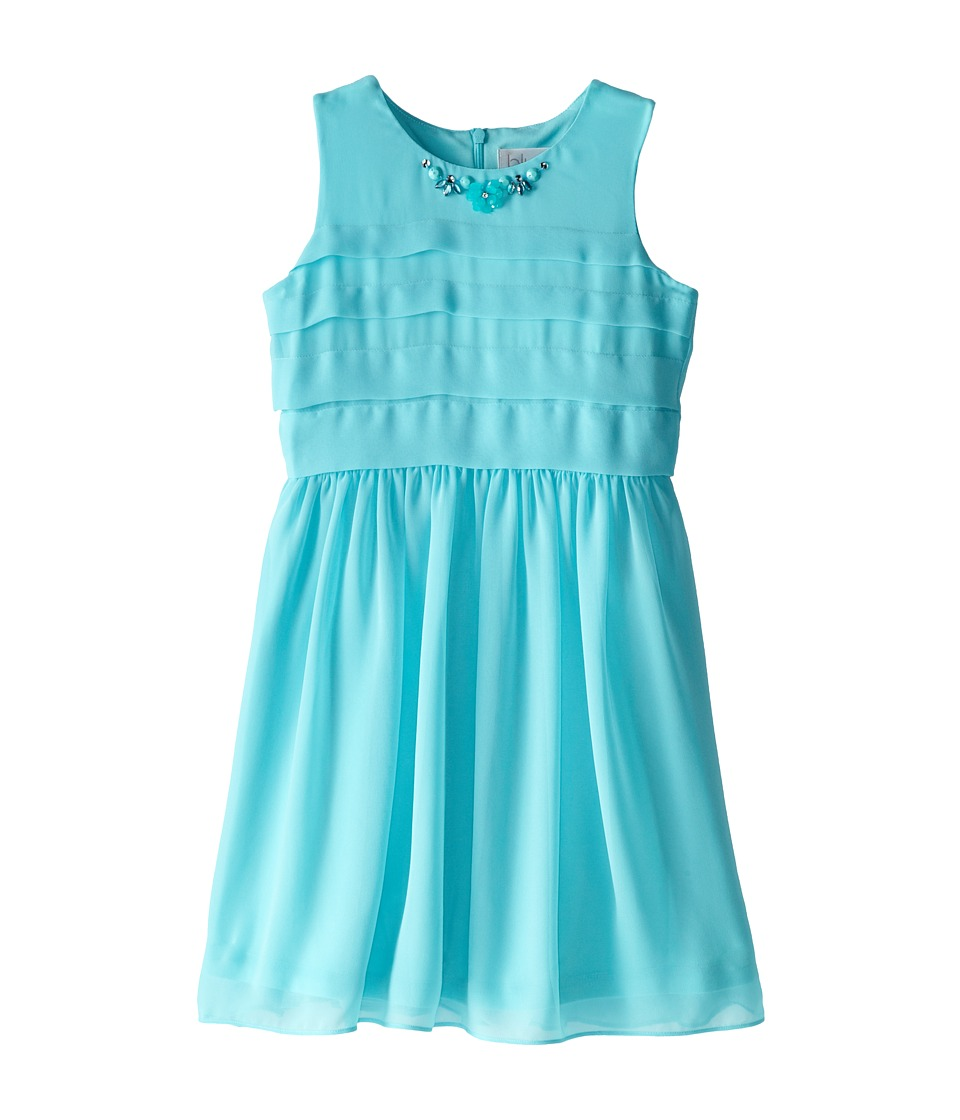 Us Angels - Sleeveless Chiffon Tucked Bodice w/ Full Skirt (Big Kids) (Aqua) Girl's Dress