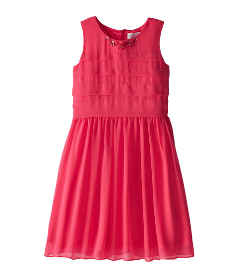 Us Angels - Sleeveless Chiffon Tucked Bodice w/ Full Skirt (Big Kids) (Fuchsia) Girl