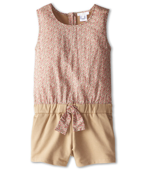 Chloe Kids - Liberty Print Front Terri Fleece Romper (Little Kids) (Safari) Girl's Jumpsuit & Rompers One Piece