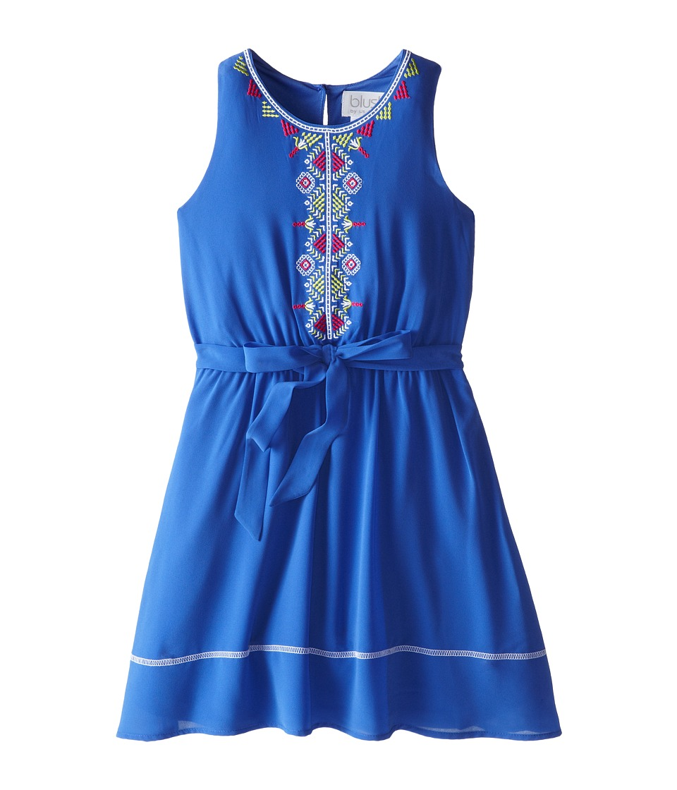 Us Angels - Sleeveless Georgette Dress w/ Embroidery (Big Kids) (Ocean Blue) Girl