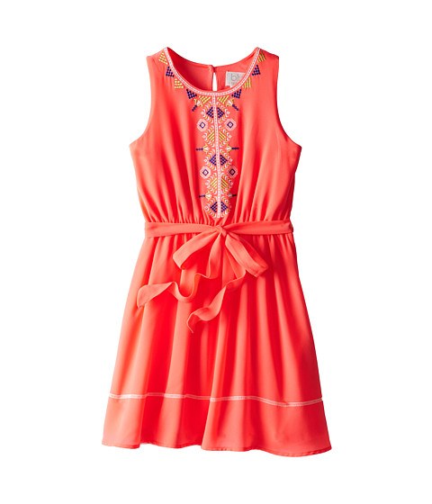 Us Angels - Sleeveless Georgette Dress w/ Embroidery (Big Kids) (Neon Orange) Girl's Dress