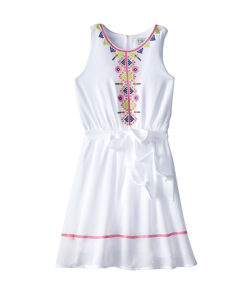 Us Angels - Sleeveless Georgette Dress w/ Embroidery (Big Kids) (White) Girl