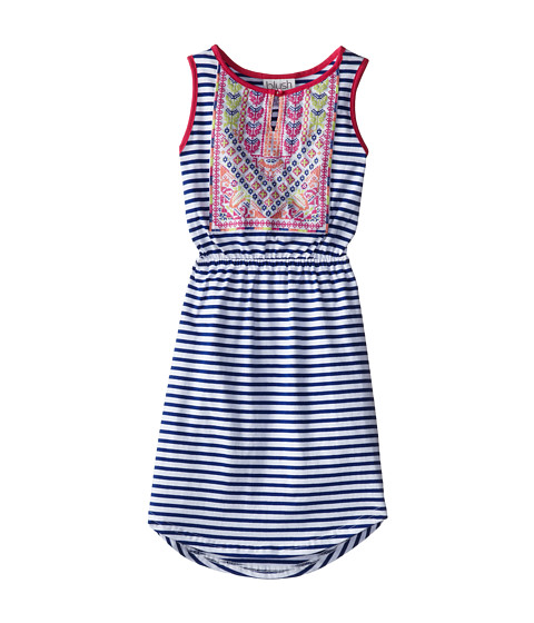 Us Angels - Sleeveless Stripe Jersey w/ Embroidered Bodice (Big Kids) (Navy/White) Girl's Dress