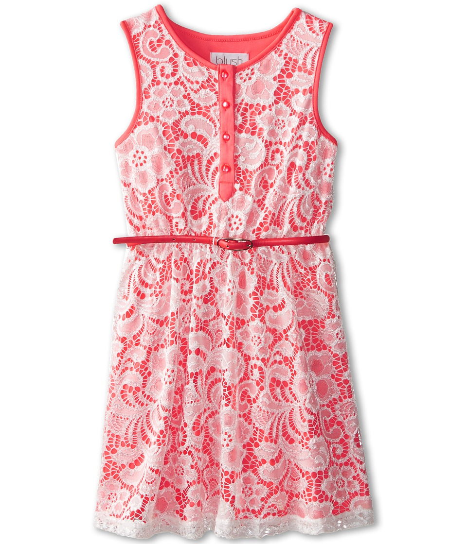 Us Angels - Sleeveless Lace Dress w/ Belt F. Skirt (Big Kids) (Neon Orange) Girl's Dress