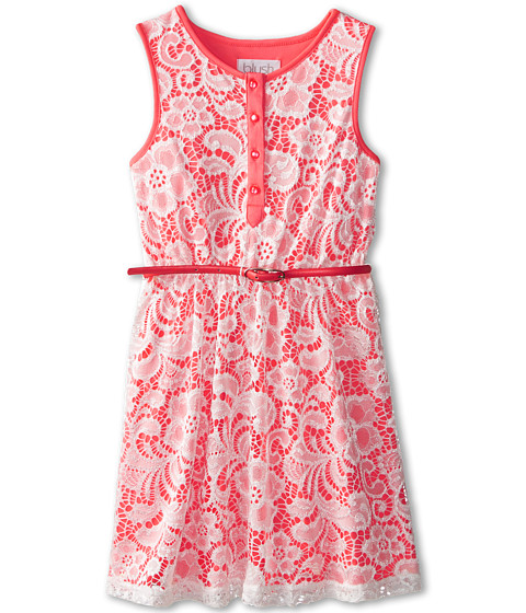 Us Angels - Sleeveless Lace Dress w/ Belt F. Skirt (Big Kids) (Neon Orange) Girl