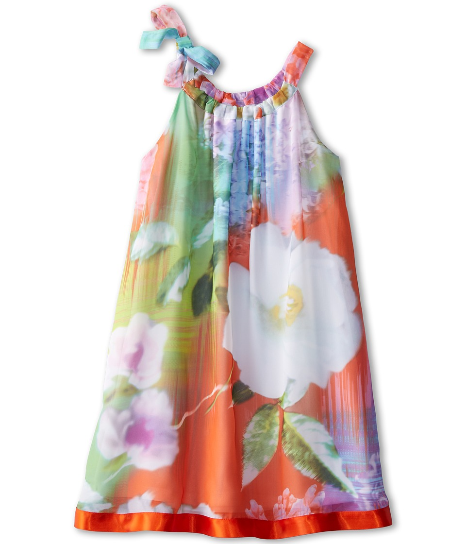 Us Angels - Sleeveless Printed Chiffon Halter (Big Kids) (Neon Floral) Girl's Dress