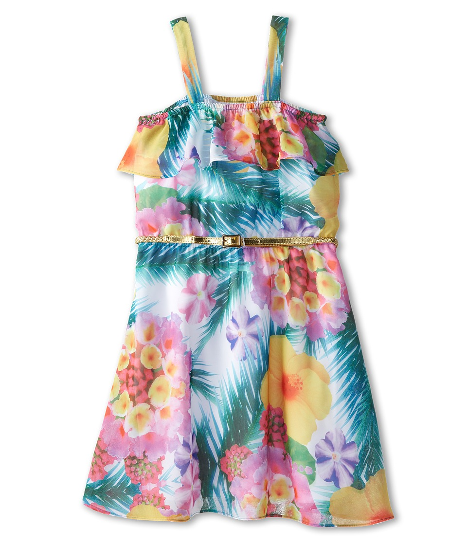 Us Angels - Printed Ruffle Bandeau w/ Full Skirt (Big Kids) (Tropical) Girl's Dress