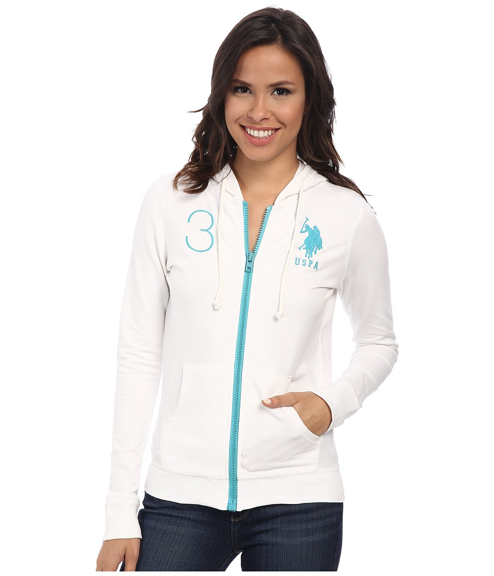 U.S. POLO ASSN. - Neon Pop French Terry Hoodie (Optic White) Women's Sweatshirt
