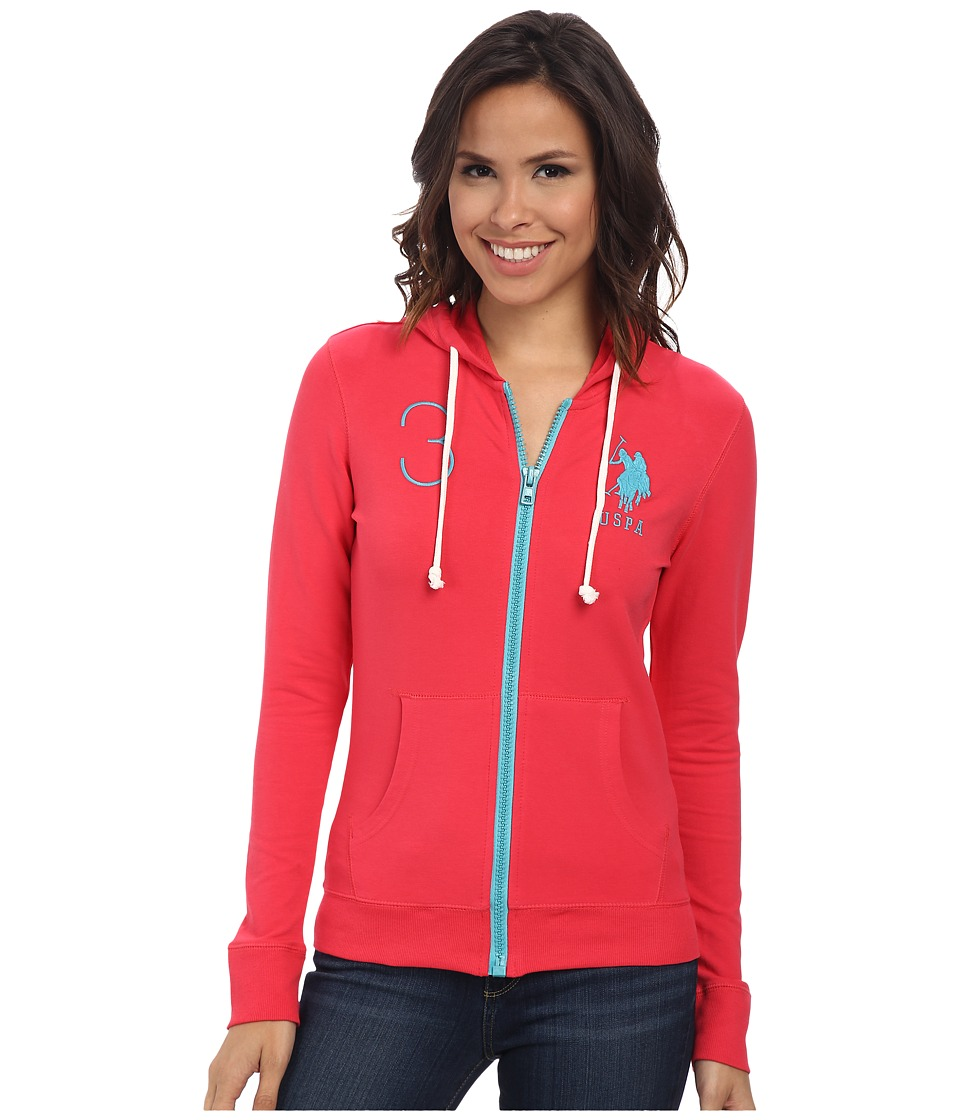 U.S. POLO ASSN. - Neon Pop French Terry Hoodie (Teaberry) Women's Sweatshirt