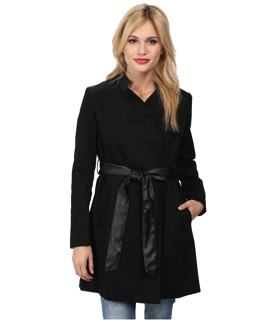 French Connection - Inverted Collar Trench (Black) Women's Coat
