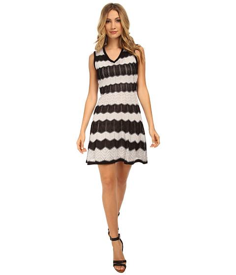 M Missoni - Zig Zag Ribbon V-Neck Dress (Black) Women