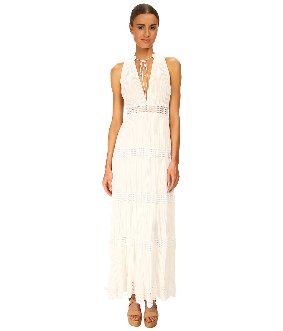 M Missoni - Plisse Long Sleeveless Tie Waist Dress (White) Women's Dress