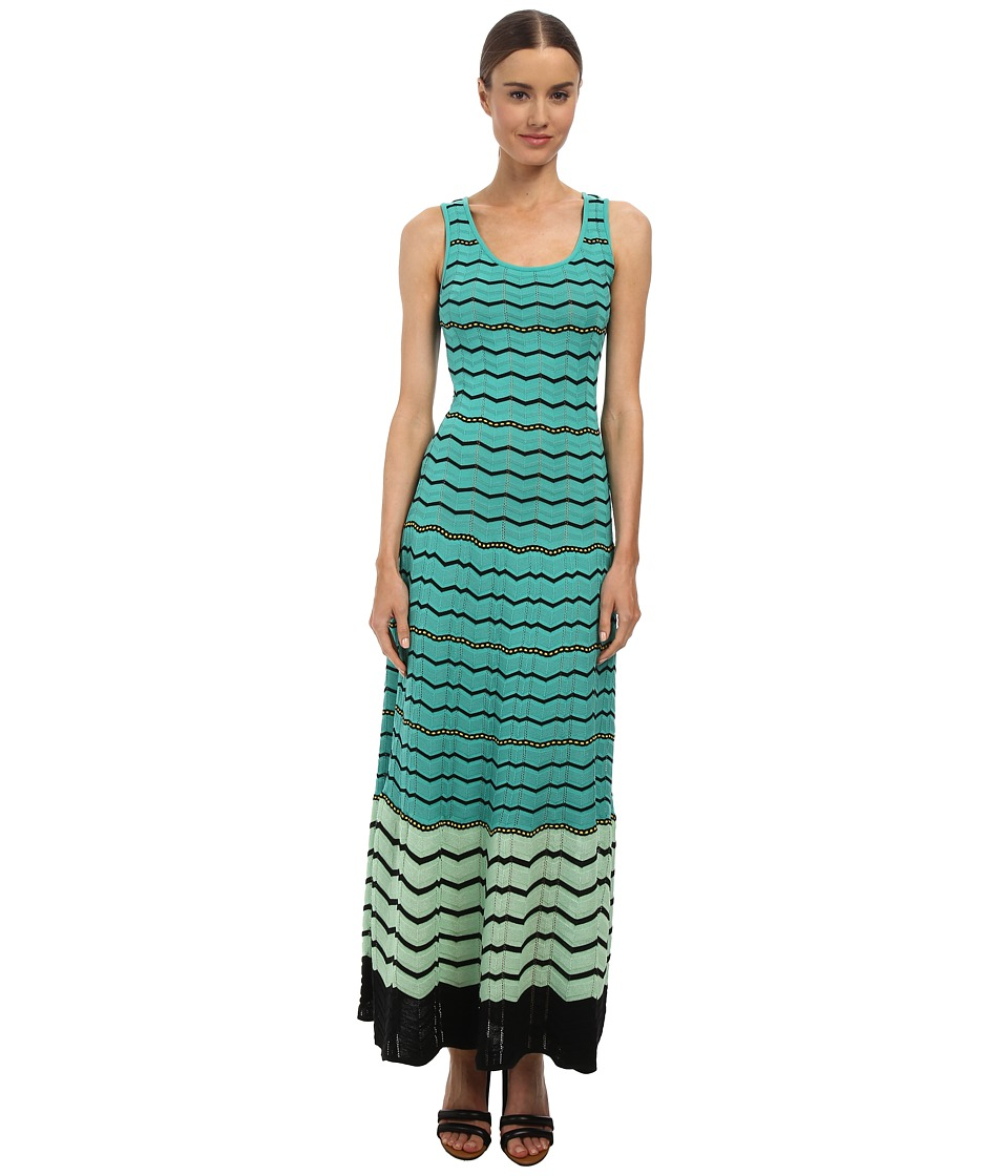 M Missoni - Zig Zag Flounce Maxi Dress (Aqua) Women's Dress