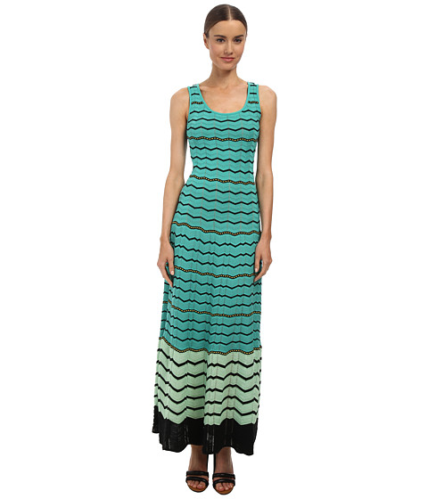 M Missoni - Zig Zag Flounce Maxi Dress (Aqua) Women