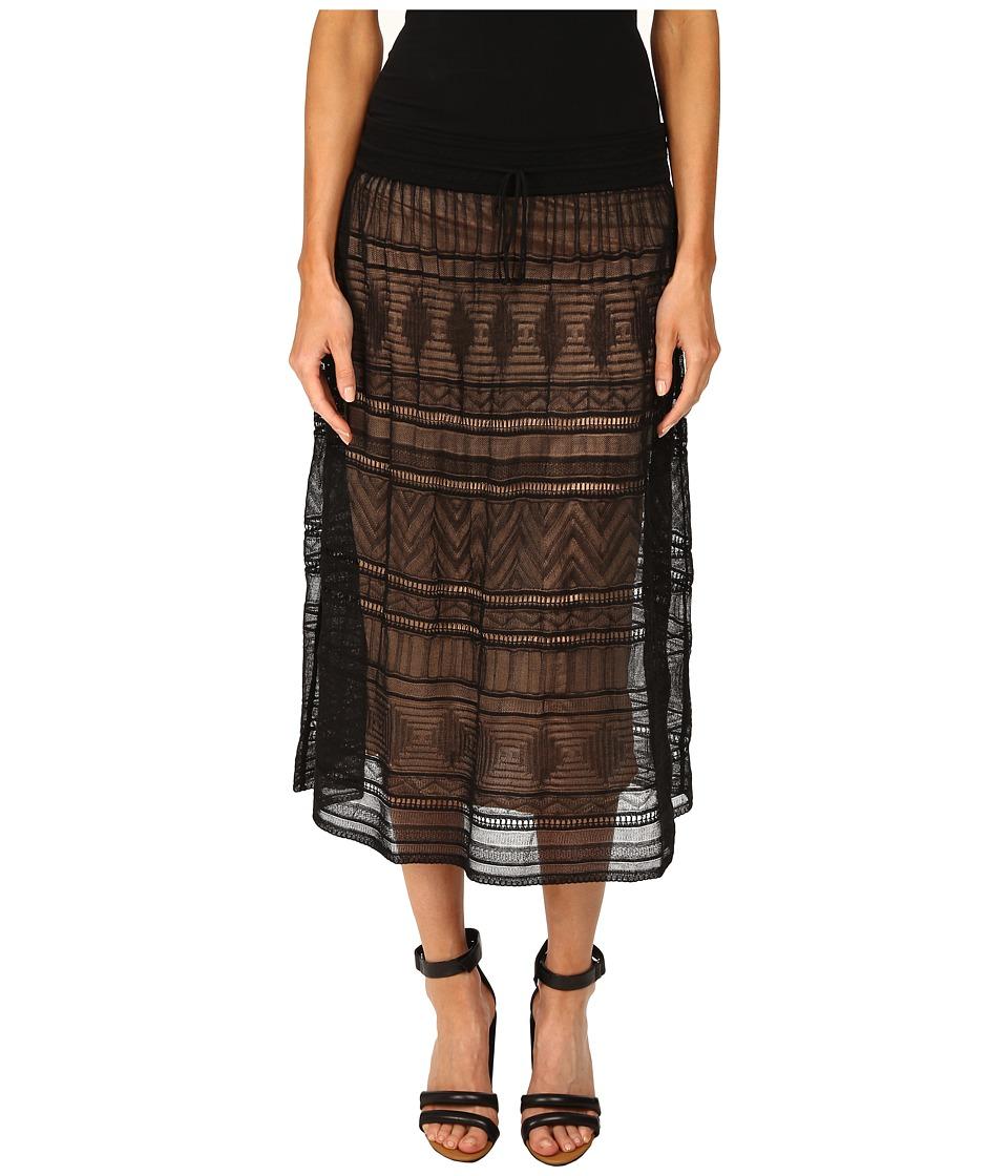 M Missoni - Fancy Ribbon Knit Knee Length Skirt (Black) Women