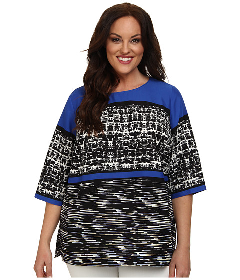 Vince Camuto Plus - Plus Size 3/4 Sleeve Split Texture Panel Tunic (Azure Sky) Women