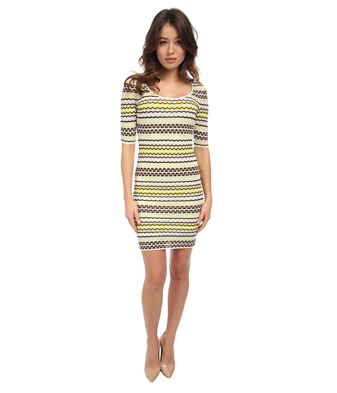 M Missoni - Pebble Stripe 3/4 Dress (Eggplant) Women's Dress