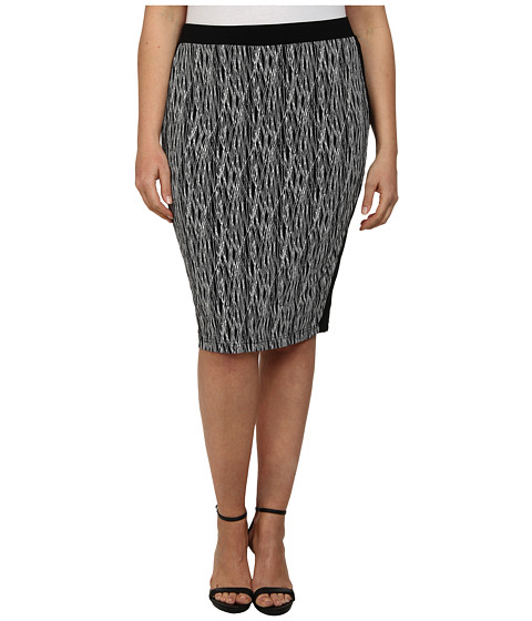 Vince Camuto Plus - Plus Size Linear Scratch Pencil Skirt w/ Solid Trim (Rich Black) Women