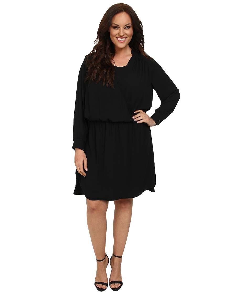 Vince Camuto Plus - Plus Size Long Sleeve Wrap Front Dress (Rich Black) Women's Dress
