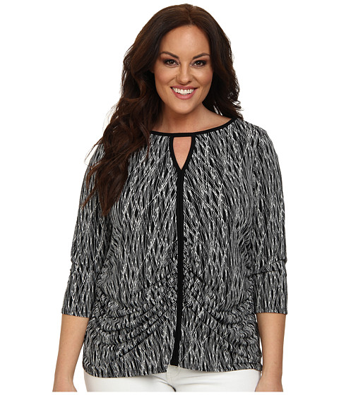 Vince Camuto Plus - Plus Size 3/4 Sleeve Linear Scratches Keyhole Top (Rich Black) Women