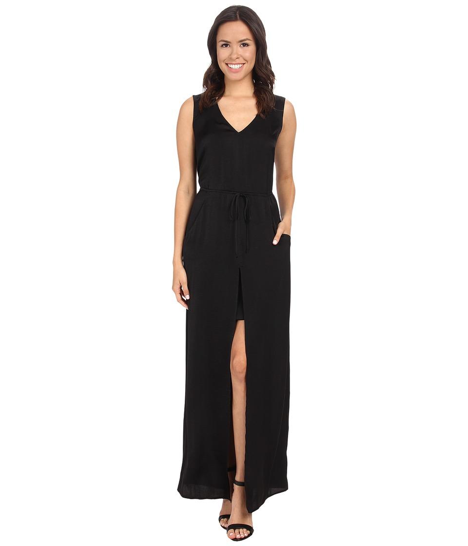 BCBGMAXAZRIA - Taren Long Slit Front Drawstring Dress (Black) Women