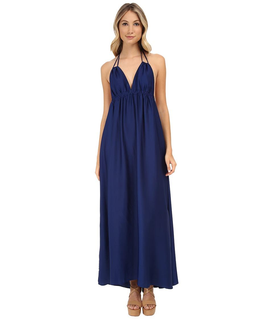 BCBGMAXAZRIA - Kamala Long Tie Neck Halter Dress (Blue Depths) Women