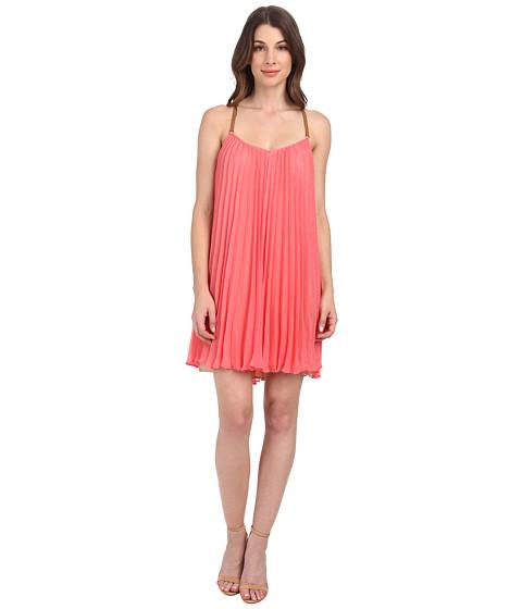 BCBGMAXAZRIA - Cayanne Sleeveless Pleated Dress (Coral Reef) Women