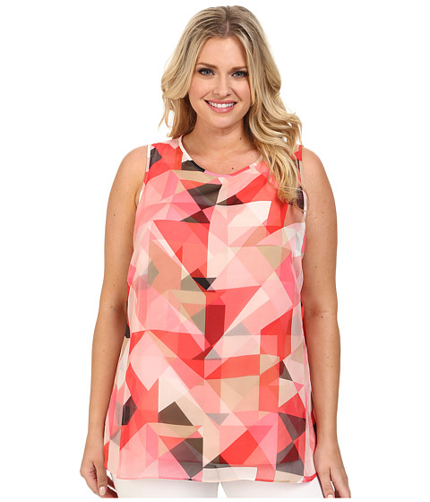 Vince Camuto Plus - Plus Size Sleeveless Sorbet Squares Double Layer Blouse (Taffy Pink) Women