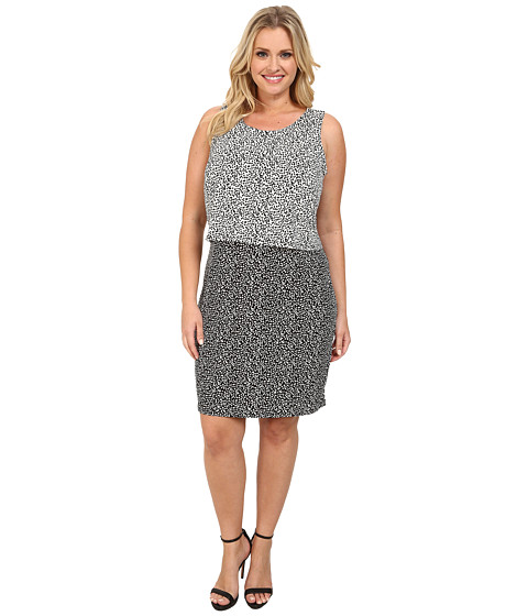 Vince Camuto Plus - Plus Size Sleeveless Color Block Dotted Dabs Layered Dress (Rich Black) Women