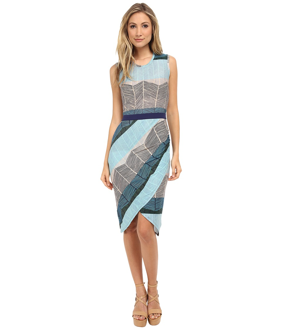 BCBGMAXAZRIA - Mikela Dress w/ Wrapped Shirred Skirt (Blue Depths Combo) Women's Dress