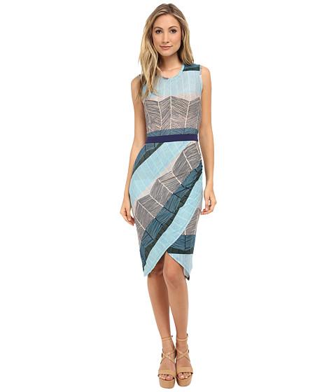 BCBGMAXAZRIA - Mikela Dress w/ Wrapped Shirred Skirt (Blue Depths Combo) Women's Dress