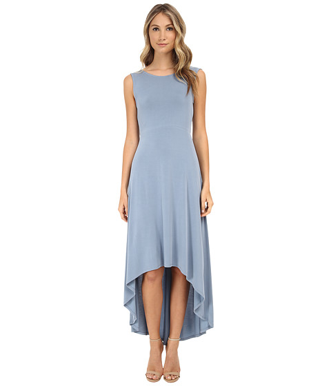 BCBGMAXAZRIA - Fara High Low Dress w/ Twist Open Back (Vintage Shadow Blue) Women
