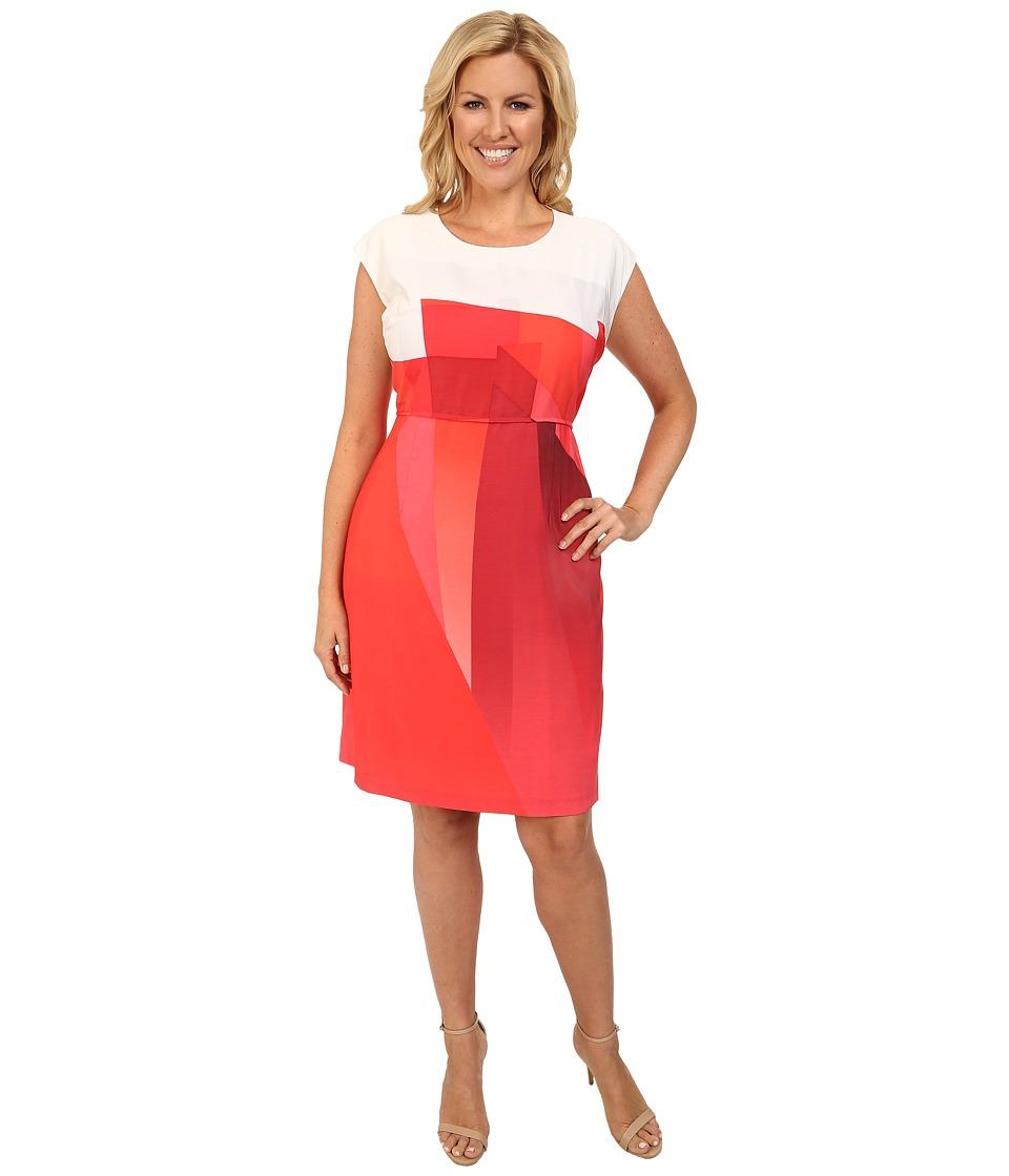 Vince Camuto Plus - Plus Size Cap Sleeve Ombre Edge Border Dress (Pomegranates) Women